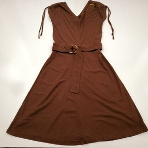 Obey Brown Fit & Flare Dress Embroidered Belt